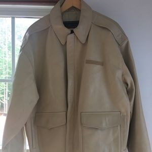 Men's Cream AVIREX leather Bomber Jacket XXL